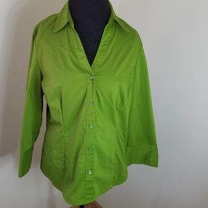Ann Taylor Green Long Sleeve Botton Down Blouse 16